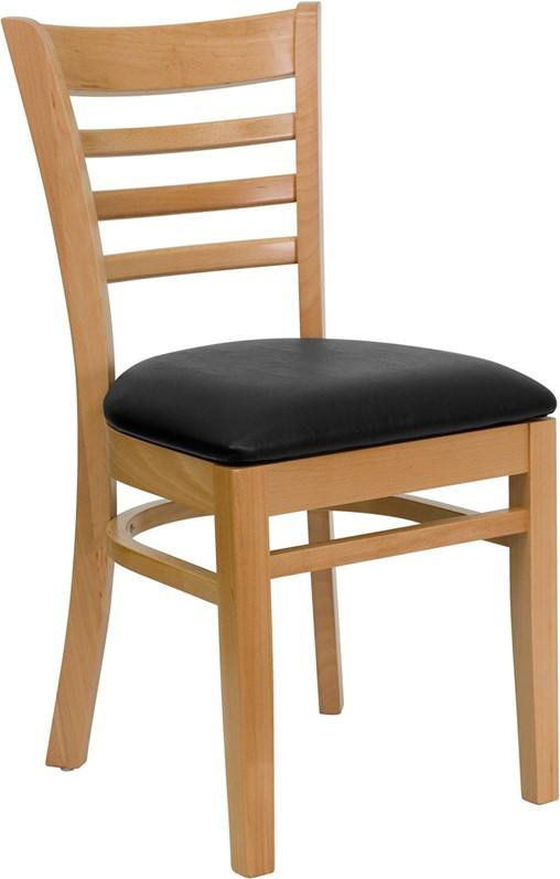 Solid Wood Dining Ladder Back Chair Vinyl Seat