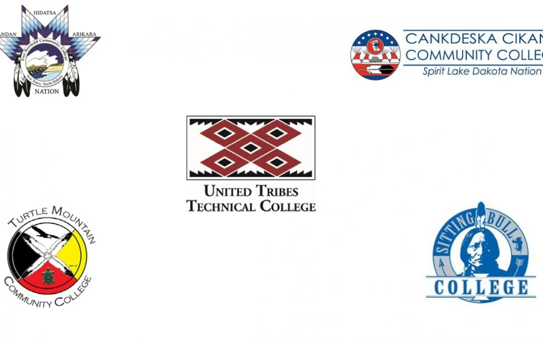 Cover of report. Images of Tribal Colleges' in Montana Logos