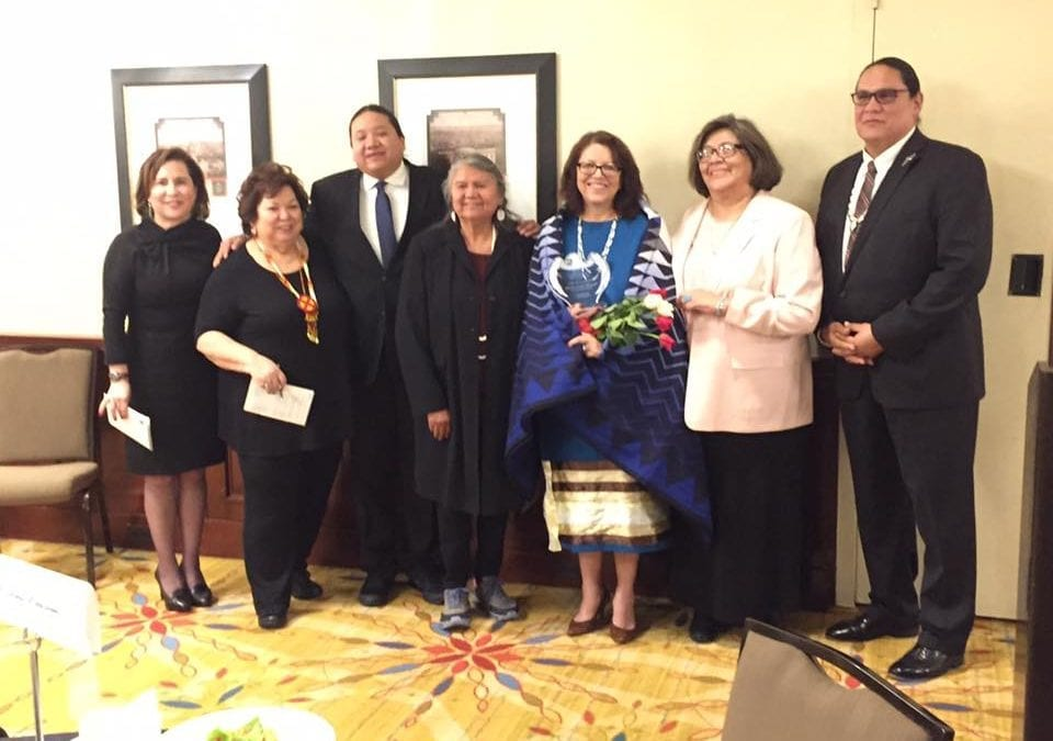 The Honorable Debora Juarez (Blackfeet) of the Seattle City Council presented Crazy Bull with her NIW Award.