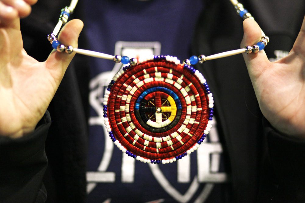 Hand made medallion beaded with porcupine quills.