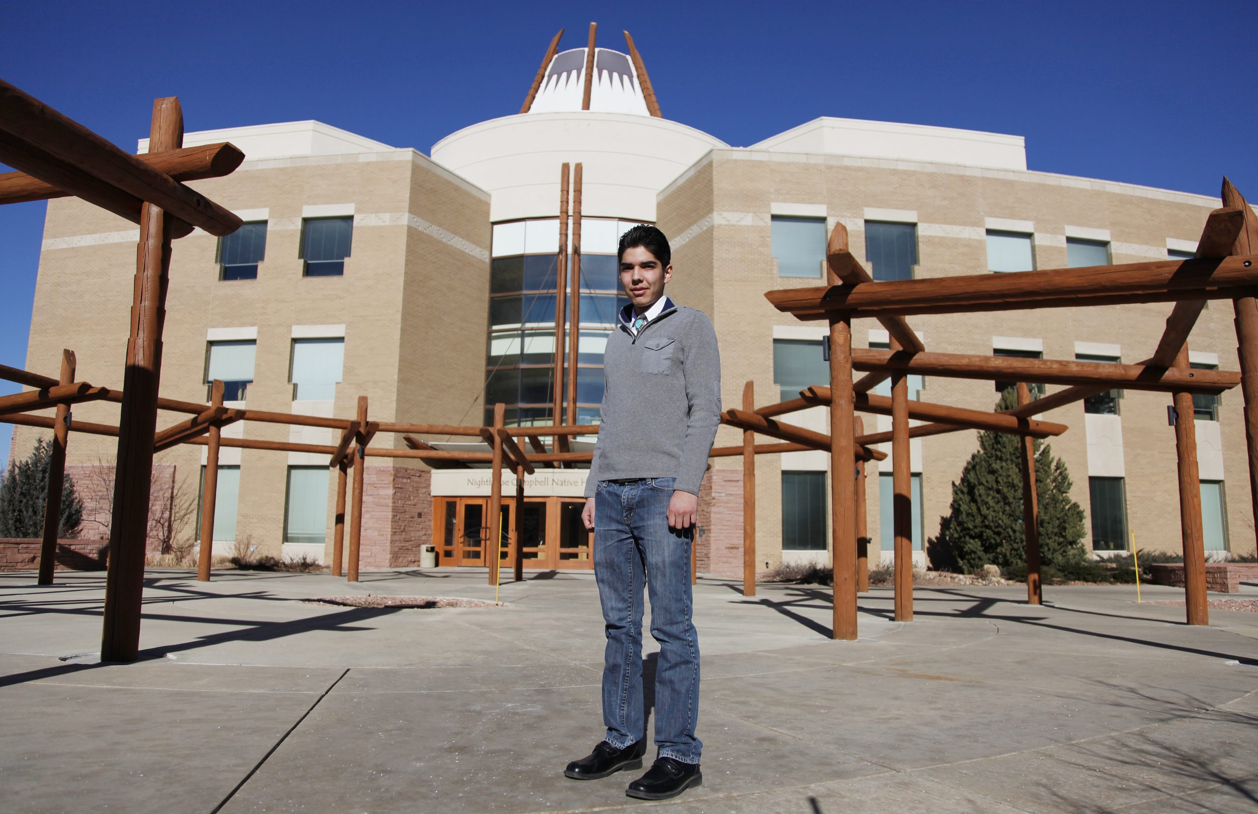Joaquin Gallegos at the Centers for American Indian and Alaska Native Health at the University of Colorado Anschutz Campus as an undergraduate in this 2012 photo.