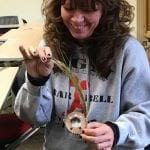 KBOCC student participating in the Quillwork and sweet grass basketry workshops.