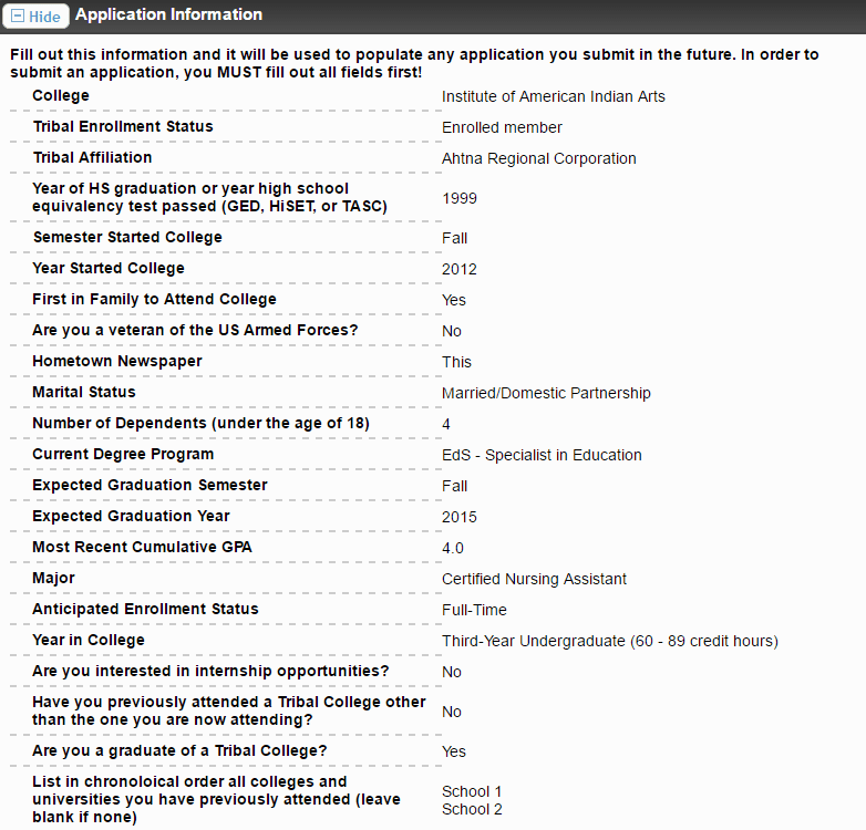 Image screen capture of the application fields on the scholarship application form; tribal enrollment questionnaire