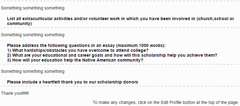 Image screen capture of the application fields on the scholarship application form - listing activities