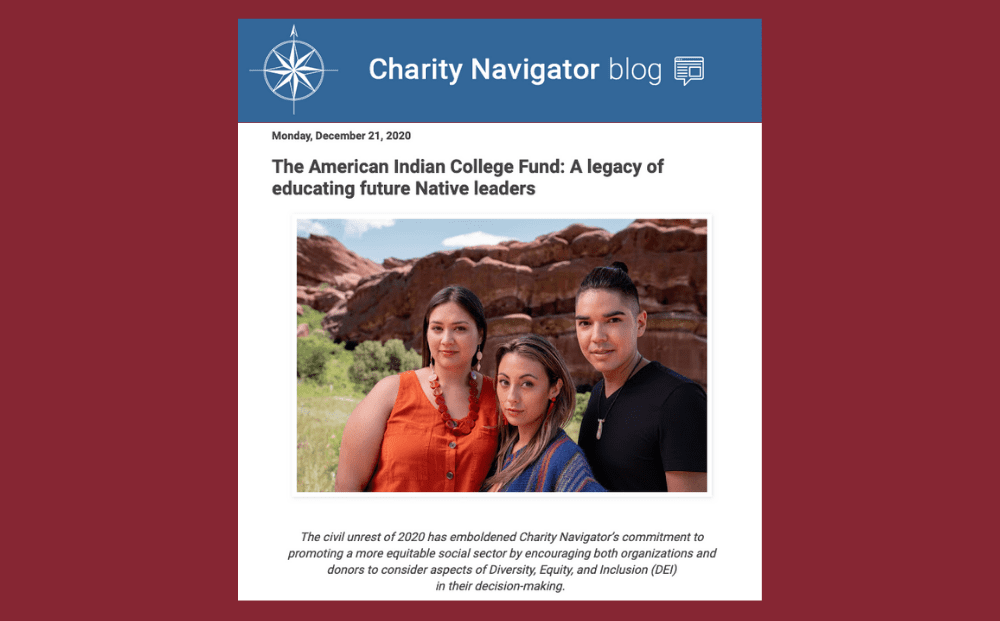 Charity Navigator Highlights the American Indian College Fund