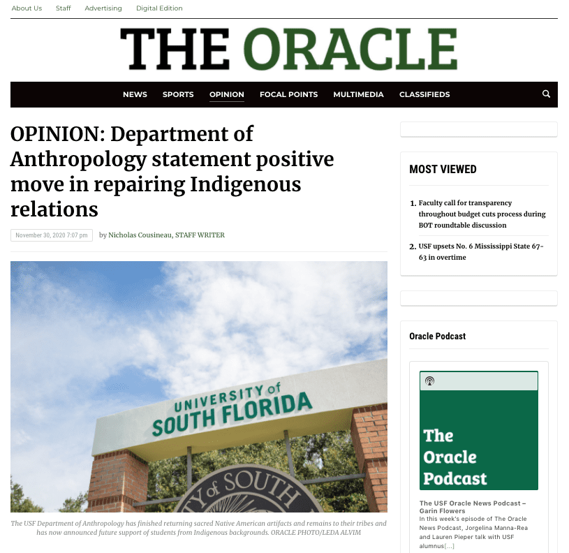 The Oracle - OPINION_ Department of Anthropology statement positive move in repair_ - www.usforacle.com