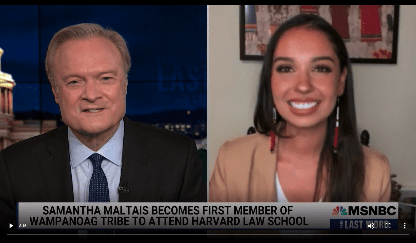 Samantha Maltais, American Indian College Fund Law Scholarship Recipient, Interviewed Live on MSNBC's The Last Word with Lawrence O'Donnell