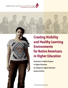 Creating visibility and healthy learning environments for Native Americans in higher education: Declaration of Native purpose in higher education