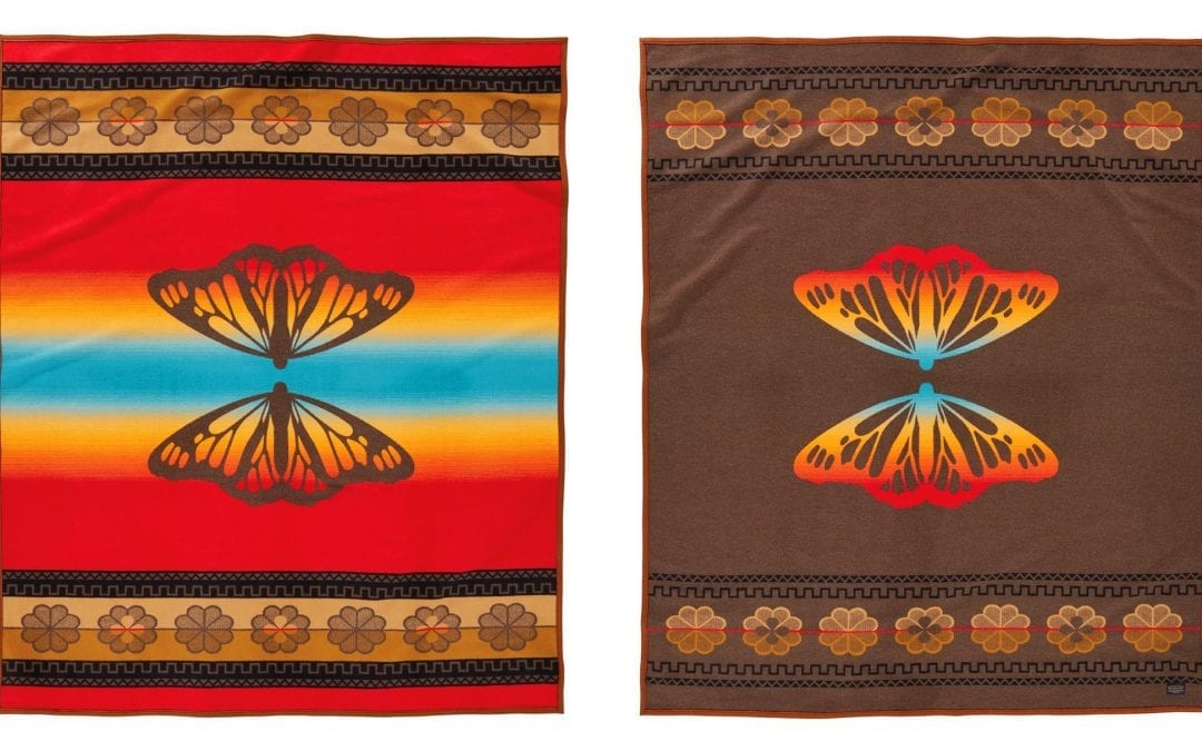 The front and back of the Butterfly blanket, honoring the Lakota leader Chief Sitting Bull.