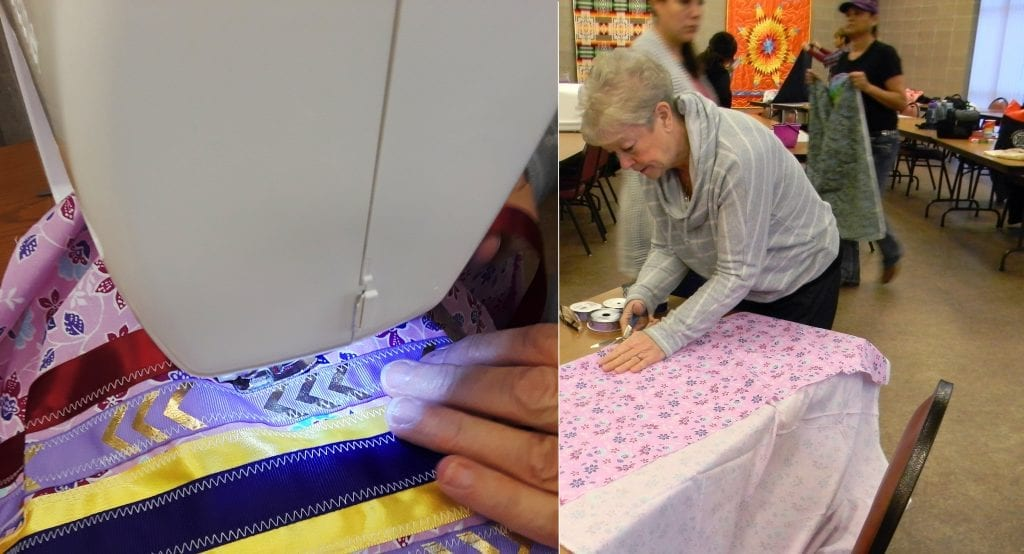 Composite image of two phases of Renee creating her ribbon skirt, cutting fabric and using a sewing machine. .