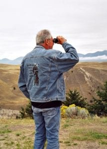 David Kennedy on location at an Indian reservation for a photo shoot.