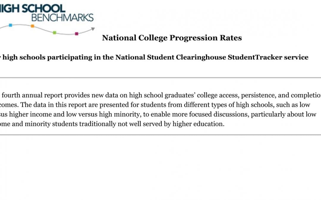 Cover of National College Progression Rates report