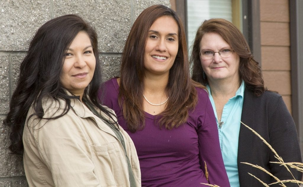 SKC Indigenous Visionaries Fellows Joni Augare Connelly, Kayla Dix, and Mentor Kathie Maiers.