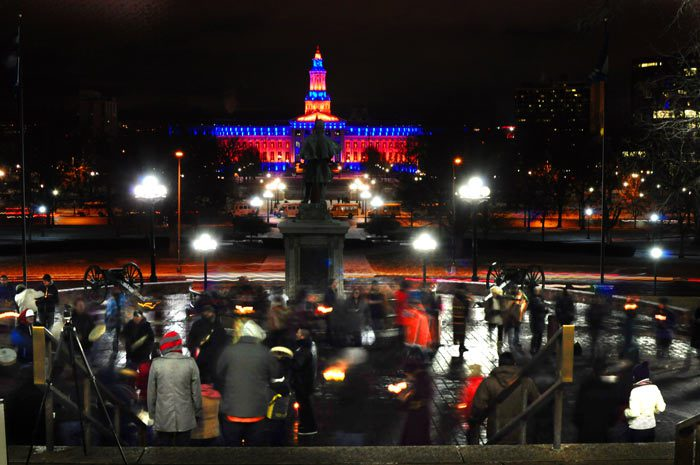 Round Dance gathering at the Colorado State Capitol on Jan. 11, 2013.
