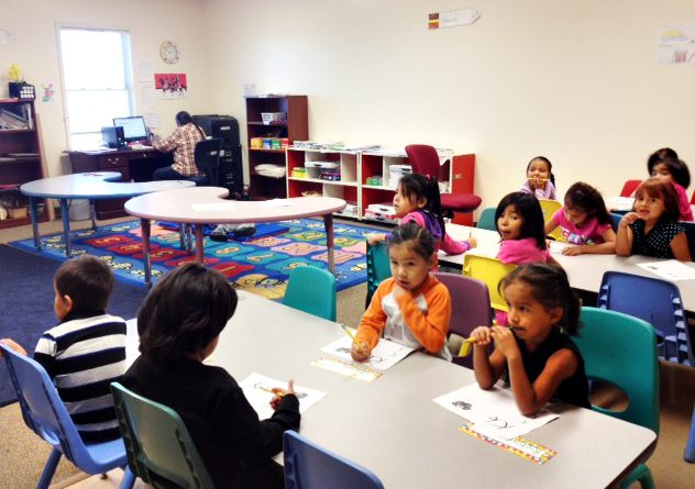 Students in OLC Lakota immersion class.