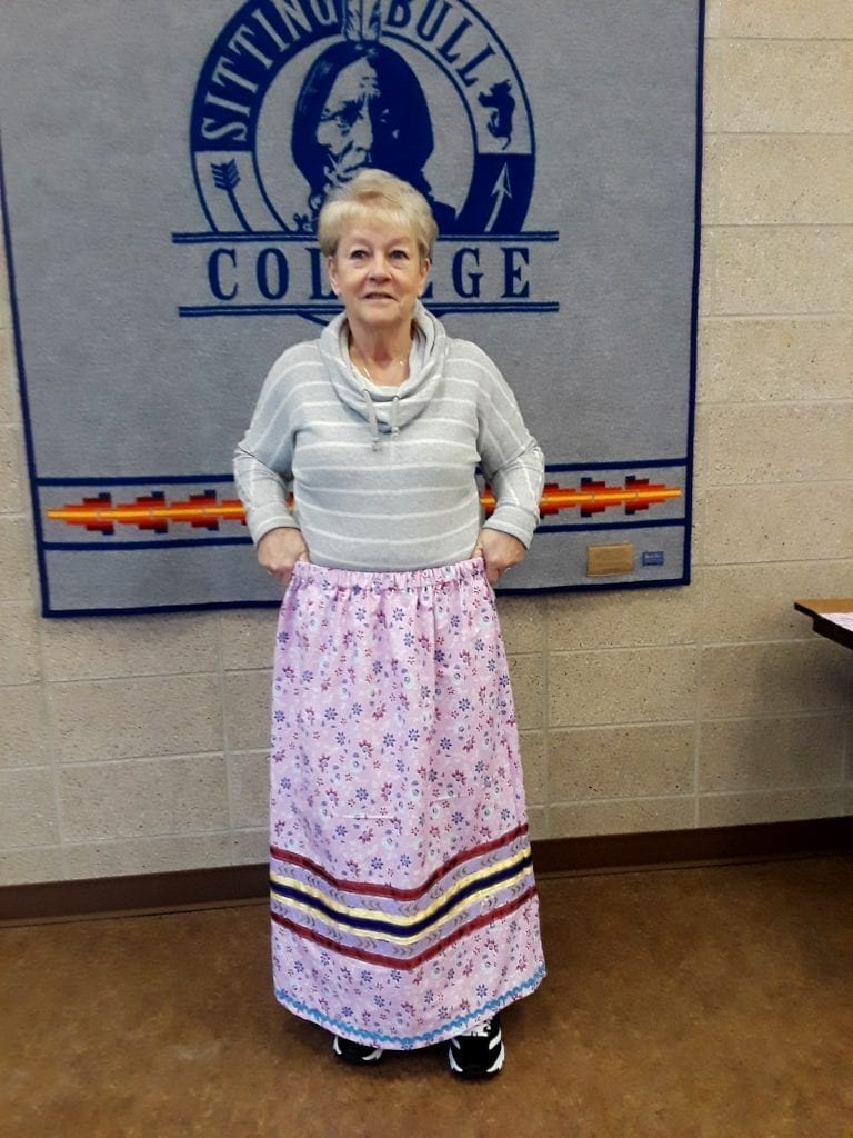 Renee with her finished skirt