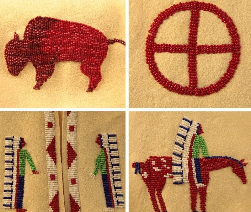 Detailed designs of the vest gifted to David Kennedy representing a buffalo, medicine wheel a chief in a headdress and a chief in a headdress on a horse.