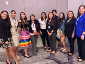 Alexandra Darling of the American Indian College Fund with the College Fund's participants in the United Health Foundation's Diverse Scholars program. They are posing for group photo