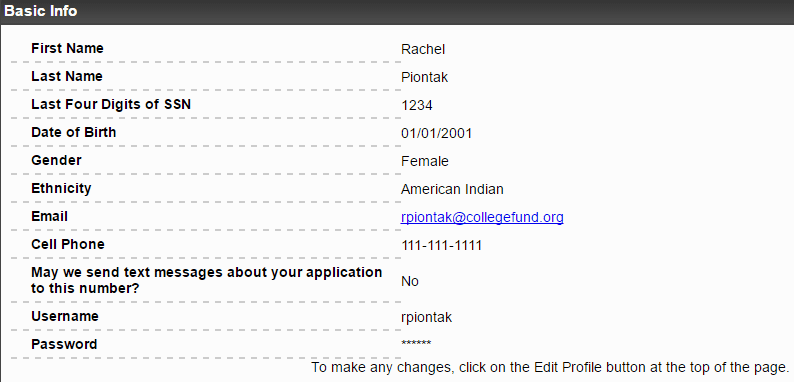 Image screen capture of the application fields on the scholarship application form; Name Last Name, ect