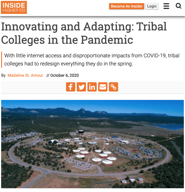 Innovating and Adapting: Tribal Colleges in the Pandemic college fund media mention
