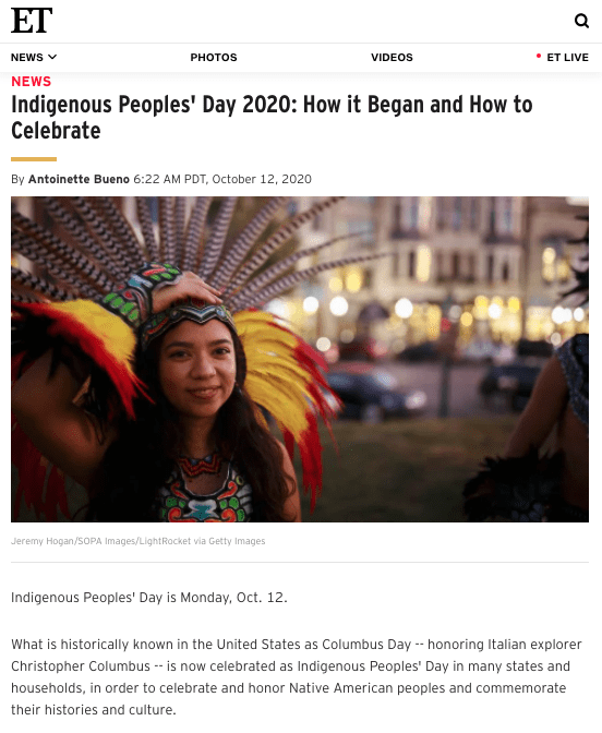 E! Magazine - Indigenous Peoples' Day 2020: How it Began and How to Celebrate