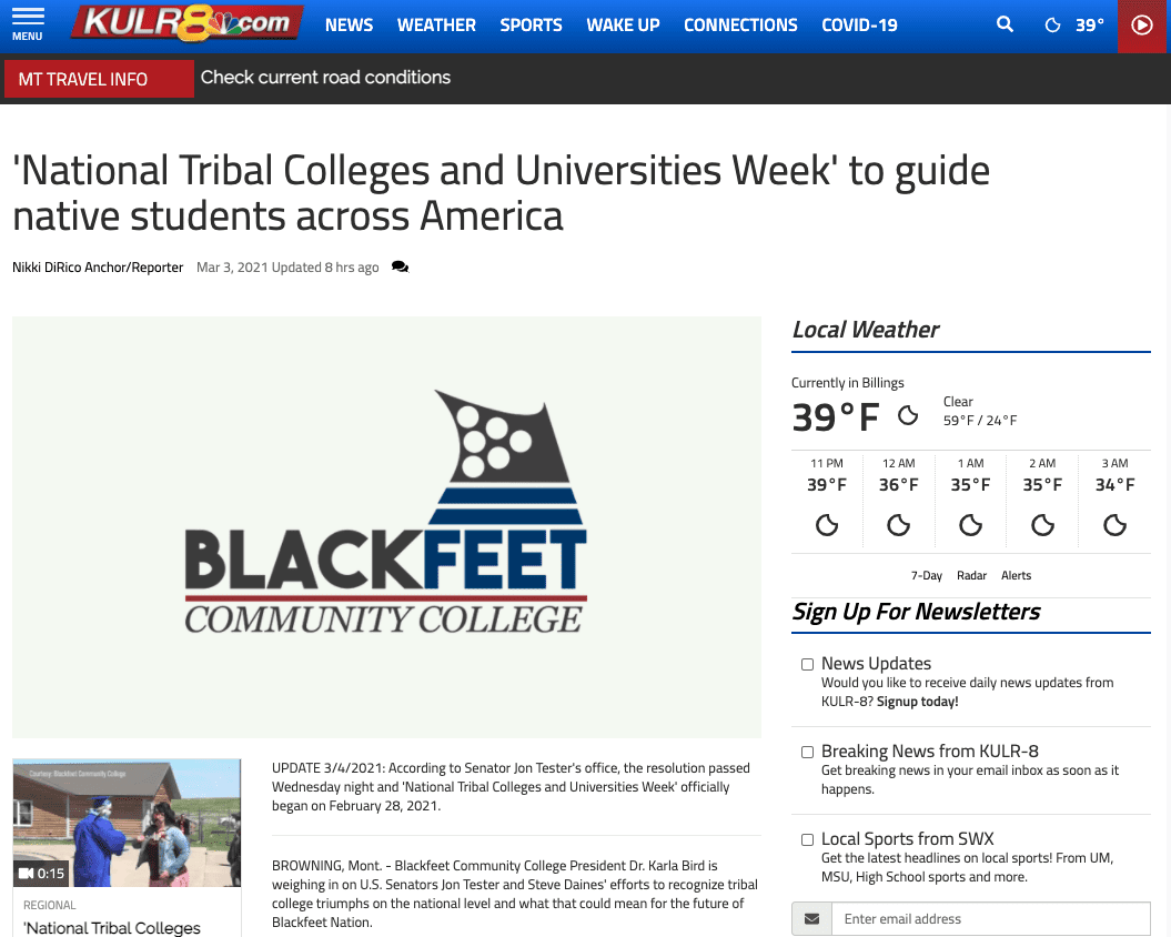 'National Tribal Colleges and Universities Week' to guide native students across America
