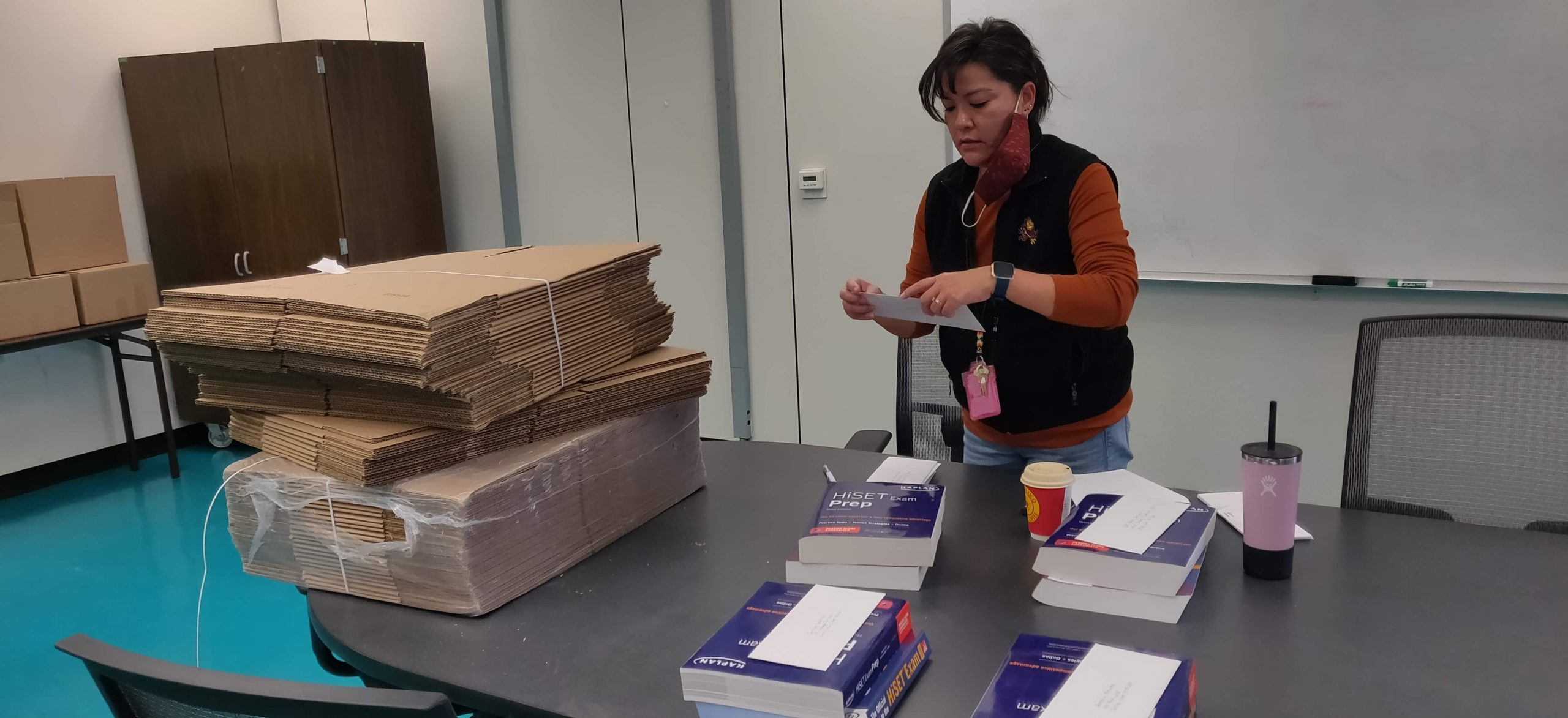 Bobbi Brown, administrative assistant for the SIPI Developmental Education, HSE Program prepares COVID Care packages for HSE students